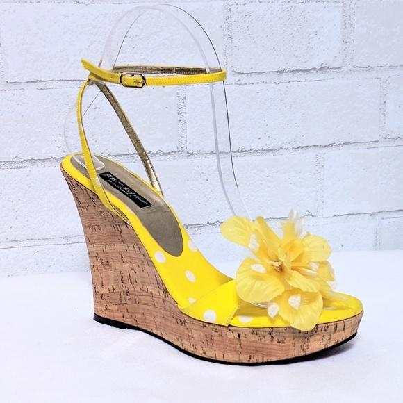 d8029c498f Betsey Johnson Shoes | Yellow Polka Dot Flower Wedge Heels | Poshmark